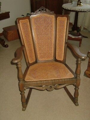 Vintage Antique Wooden Caned Rocking Chair