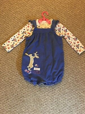 Girls Dungarees And Vest 9-12 Months