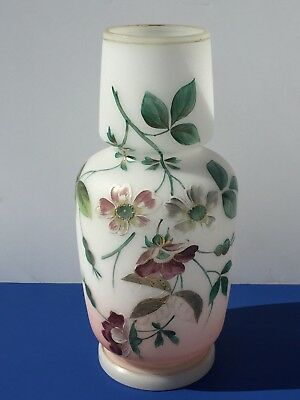 19Thc Victorian Antique Vase Bristol English Opaline Glass Enameled Hand Painted