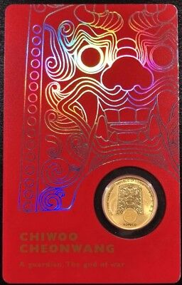 2017 1/10 oz Gold South Korea Chiwoo Cheonwang Medal in Red Assay Card