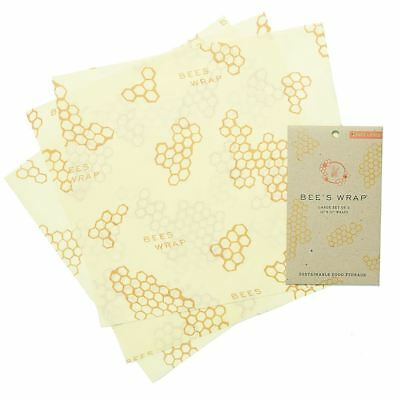 Bees Wrap Large Wrap 3 Pack - Sustainable/Reusable Food Wrap - Honeycomb Design