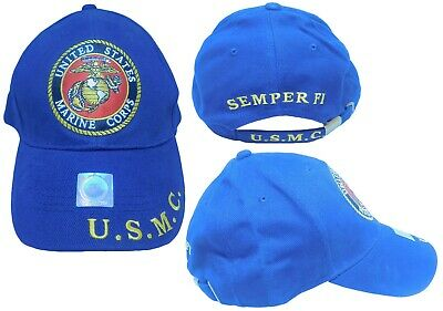b0fe00e48de2c Marines Marine Corps EGA U.S.M.C. USMC Semper Fi Navy Blue Embroidered Cap  Hat