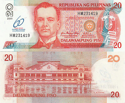 Philippines 20 Piso (2009) - Quezon/Palace/60 Years of Central Bank/p200 UNC