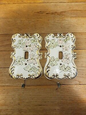 Vintage Single Light Switch Plate Cover  SET OF 2 Floral Design Porcelain Glossy
