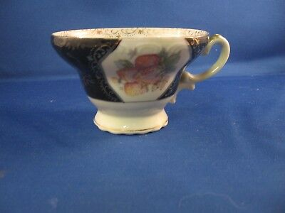 Vintage Tea Cup Black and white with gold accents and fruit design NW-C312A