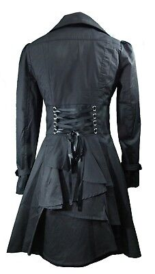 XS SM - Black NEW Gothic Victorian Corset Trench Steampunk Jacket