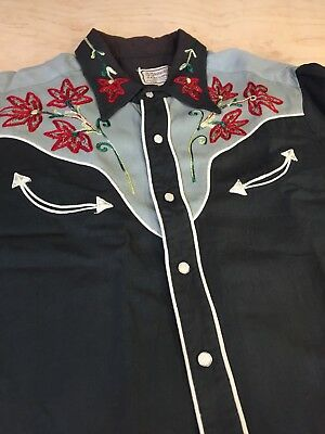 Vintage 1950s H BAR C Western shirt Rockabilly Chainstitch Embroidery Two Tone L