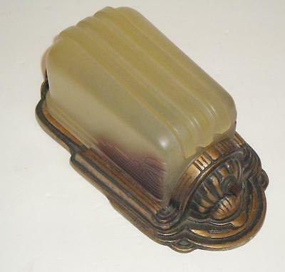 Vintage Art Deco Wall Slip Shade Sconce with 2 Tone Amber Shade 1920's - 30's