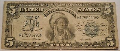 1899 $5 Silver Certificate, Indian Chief Note, Better Five Dollar, Nice Look