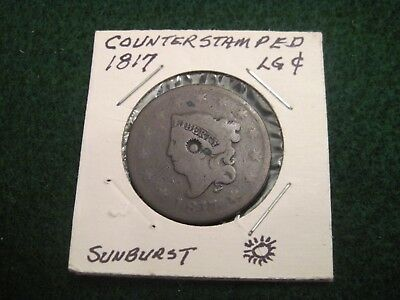 1817 Large Cent From An Old Collection Counter Stamped Sunburst