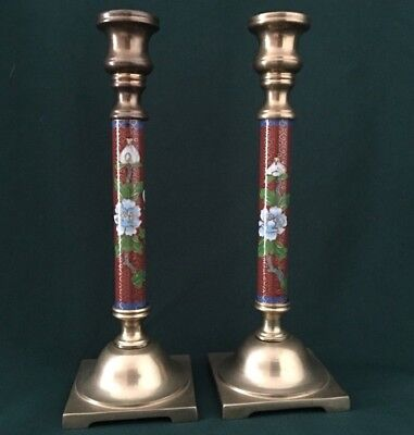 Vintage Chinese Cloisonné Peony Flower & Blue Bird Bronze Candle Stick Holders