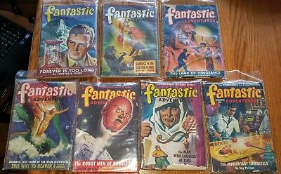 LOT OF 7 FANTASTIC ADVENTURES ~ circa 1940's ~ Vintage Pulp Magazines ~ GD to VG