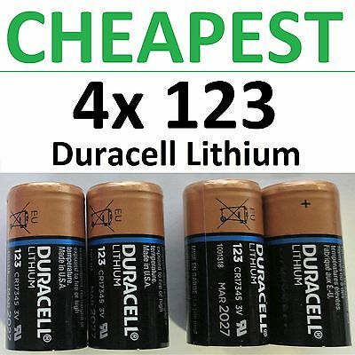 4 x NEW 123 Duracell 3V Lithium Batteries (CR123A, DL123, Photo) EXP 2026+