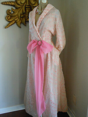 Vtg 1940's PEACHY FLOCKED PINK BOW STARLET DRESSING GOWN ROBE XL TALL