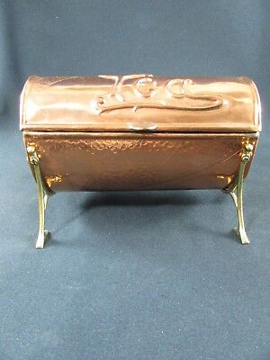 Arts and Crafts Copper & Brass Tea Caddy and Spoon c.1900-05