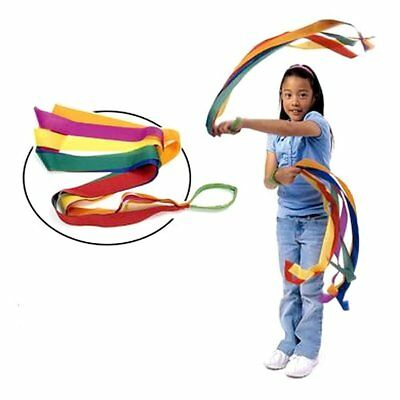 12Pcs 100CM Cute Hand Held Dance Rainbow Ribbon Toys Children fun Random Color
