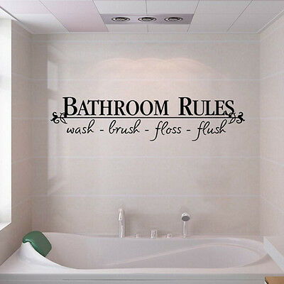 New Bathroom Rules Quote Wall Decals Stickers Vinyl Art Home Diy Decor