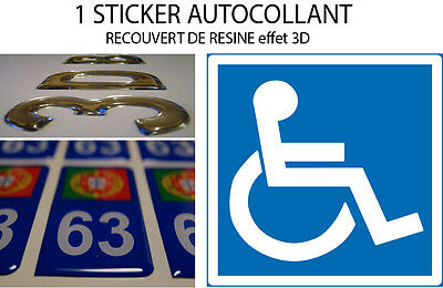 1 Sticker CAR DISABLED covered resin doming 3D 15X15CM
