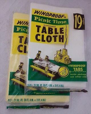 Table Cloth vtg old sealed 60s 70s lot yellow white picnic outdoor decor new USA