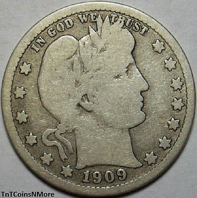 1909-D 25c Barber Quarter 90% Silver Liberty Head Old US Coin Collectible