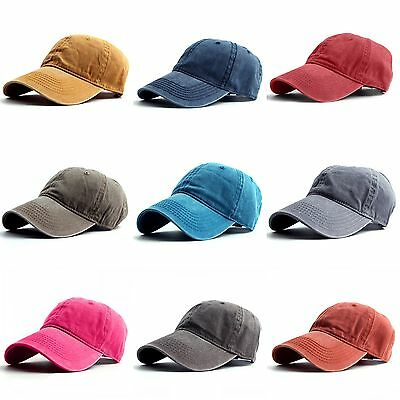 Vintage Washed Cotton Dad Hat Baseball Cap Adjustable Polo Style Plain Cap 888ccb466892