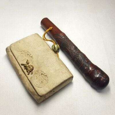 A110: High class Japanese old KISERU case of wonderful bamboo and Tobacco pouch