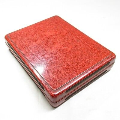 H826: Chinese inkstone case of lacquer ware with fantastic appropriate work