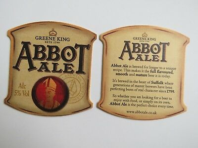 Beer Pub Coaster <*> Greene King Abbot Ale <*> Edmunds, England Breweriana 1799