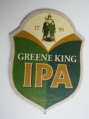 Beer Pub Coaster ~ Green King IPA ~ Bury St Edmunds, Suffolk Breweriana Est 1799