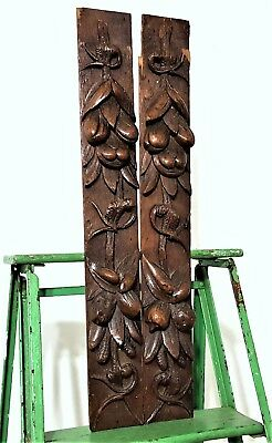 2 Fruit Ornament Trim Antique French Carved Wood Post Pillar Carving Sculpture