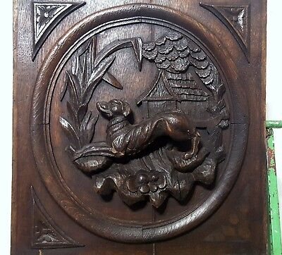 HAND CARVED WOOD PANEL WEATHERED ANTIQUE FRENCH HUNTING SCENE TROPHY CARVING a