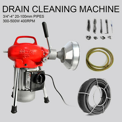 """Sectional Pipe Drain Cleaning Machine 3/4""""~4"""" Pipeline Dredger Snake Cleaner"""