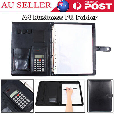 A4 Conference Folder Zipped PU Leather Portfolio Organiser with Calculator AU