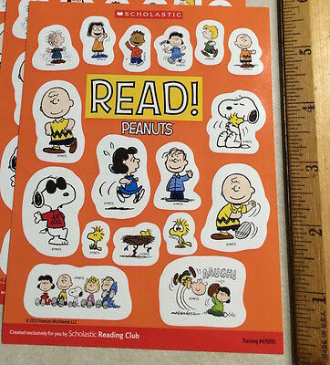 Small Sheet 17 Peanuts Cartoon Stickers Schultz Charlie Brown Snoopy Woodstock +