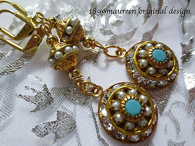 Art Deco Art Nouveau Edwardian earrings pearl turquoise vintage style dainty