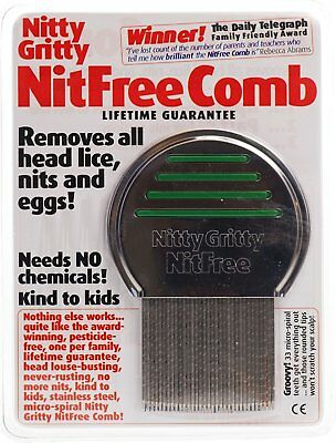Nitty Gritty Nit Comb Removes all Head Lice Nits and Eggs Head Lice Solution NEW