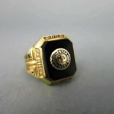 Art Deco College Ring in Gold Manchester 1943