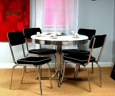 Retro Dining Table Set 5 Piece 50s Kitchen Vintage Diner Chrome Black Chair Home & RETRO DINING TABLE Set 5 Piece 50s Kitchen Vintage Diner Chrome ...