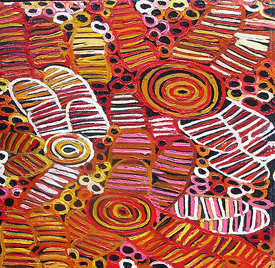 Aboriginal witchetty Grubs by Jane Crawford 600mm  Print art for glass frame