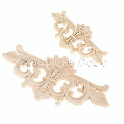 Unpainted Decorative Wood Carved Corner Decal Floral Onlay Applique Furniture