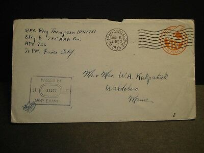 APO 926 MOROTAI ISLANDS, MOLUCCAS 1945 Censored WWII Army Cover 785 AAA Bn