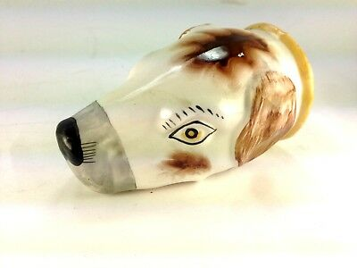 """Antique Very Rare Early English """"hound"""" Stirrup Cup"""