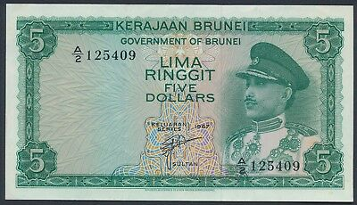 Brunei 1967 5 Ringgit (P-2) Almost Extremely Fine