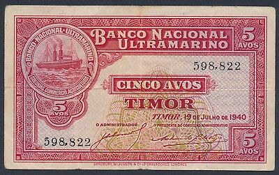 Timor 1940 5 Avos (P-12) good Fine