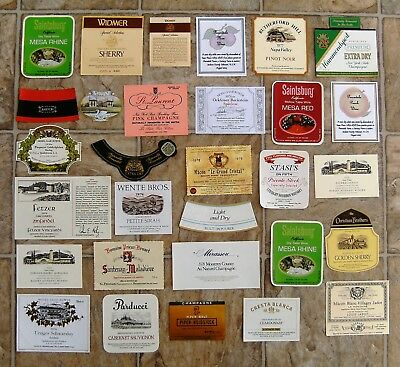 Wine Liquor and Champagne Bottle Label Collection, 30 Labels, Great Party Fun
