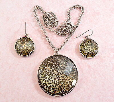 Vintage style large ornate filigree inlay pendant & earrings set