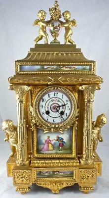 Spectacular XL antique French 19thc gilt & Sevres porcelain Figural mantle clock