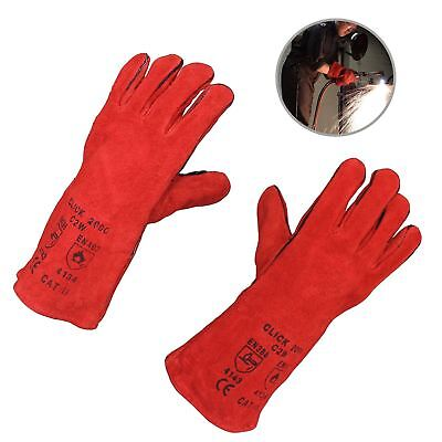 Red Mig Welding Gauntlets Protective Gloves Heat Resistant Leather CE Approved