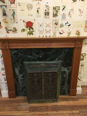 Unusual Green and bronze Victorian Cast Iron And Enamel Stove / Fire