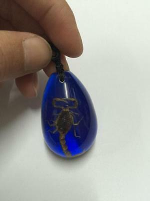 Vintage jewelry real gold scorpion blue drop keychain
